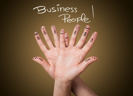 financial team: Happy group of business finger smileys
