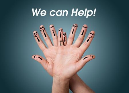 sozialarbeit: Happy Gruppe von Finger Smileys Lizenzfreie Bilder