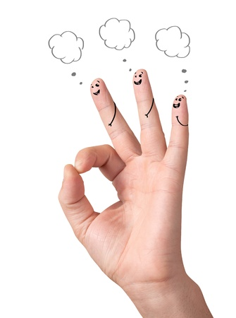 Happy ok fingers with speech bubbles and signs isolated on white photo