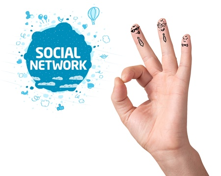 Happy ok fingers with social network sign and icons isolated on white photo