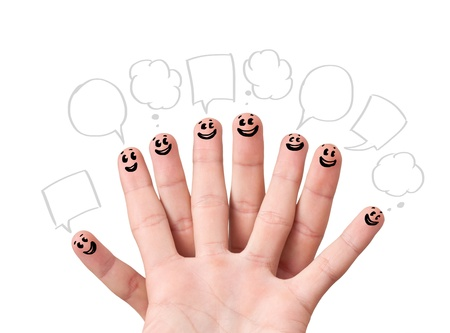 Happy finger smileys with speech bubbles. Stock Photo - 11985210