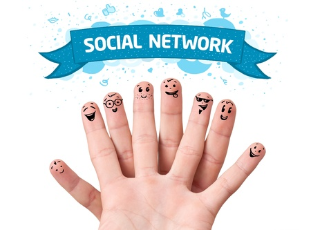 creative communication: Happy finger smileys with social network sign Stock Photo