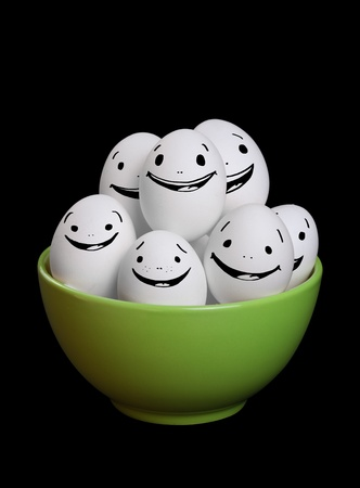 eggshell: A group of funny and happy egg smiley collection in bowl