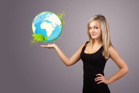Young woman holding virtual eco sign photo