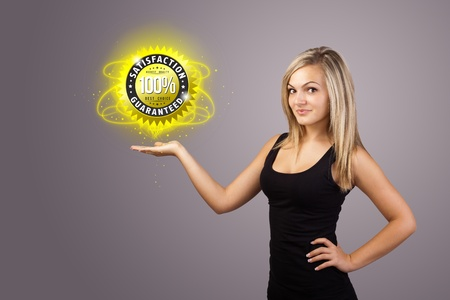 customer care: Young woman holding virtual business sign Stock Photo