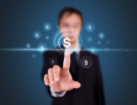 Businessman pressing business type of modern buttons with virtual background photo