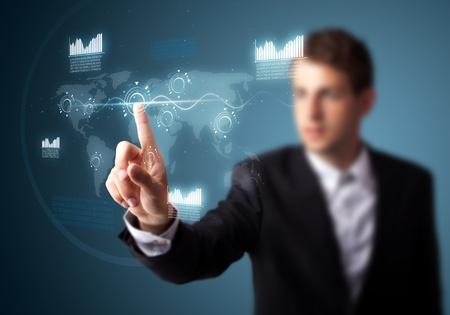 software: Businessman pressing high tech type of modern buttons on a virtual background