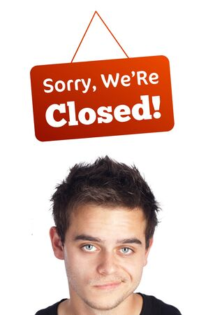informative: Young persons head looking at closed and open signs Stock Photo