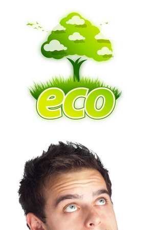 Young persons head looking at green eco sign Stock Photo - 12089010