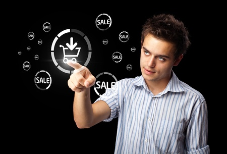 Businessman pressing promotion and shipping type of modern buttons photo