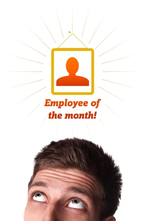 Young persons head looking with gesture at labor type of icons photo