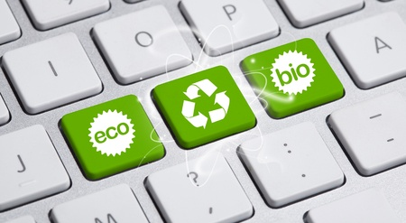 environmental friendly:  ECO keyboard, Green recycling concept