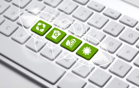 save icon:  ECO keyboard, Green recycling concept