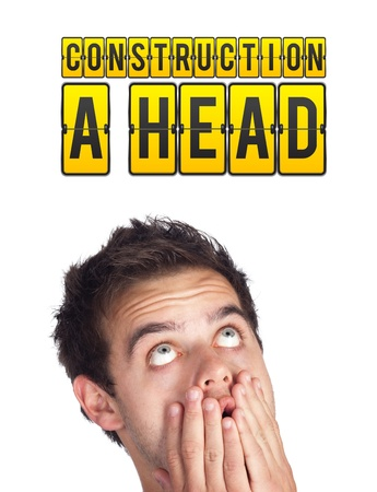 Young persons head looking with gesture at idea type of sign photo