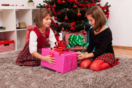 Happy kids under the christmas tree photo