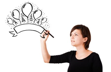 Young girl drawing a party label on whiteboard with copyspace Stock Photo - 16287480