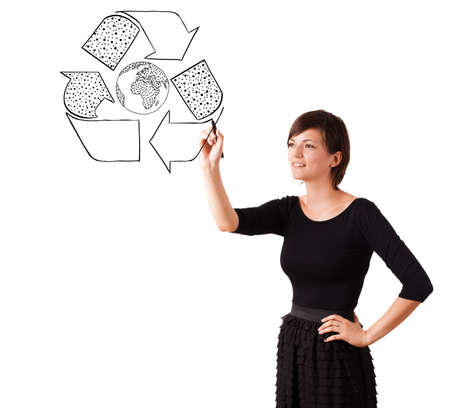 Young woman drawing recycle globe on whiteboard isolated on white Stock Photo - 16280383