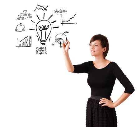 Young business woman drawing light bulb with various diagrams and charts on whiteboard isolated on white Stock Photo - 16245478