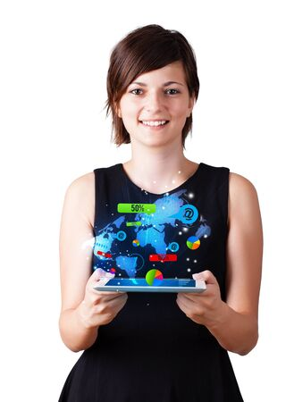 Young business woman looking at modern tablet with colourful technology icons Stock Photo - 16245502
