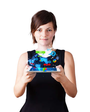 Young business woman looking at modern tablet with colourful technology icons Stock Photo - 16280496
