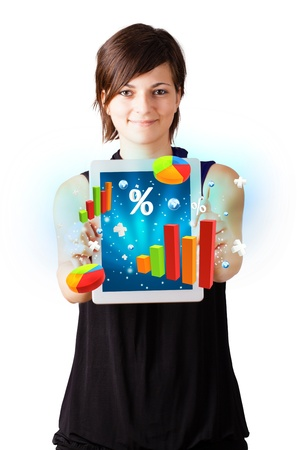woman tablet: Young business woman looking at modern tablet with colourful diagrams