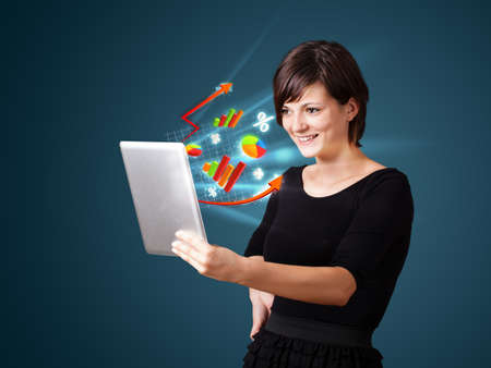 friend chart: Young business woman looking at modern tablet with abstract lights and various diagrams Stock Photo