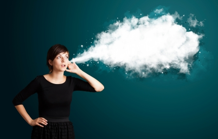Young business woman with abstract cloud photo