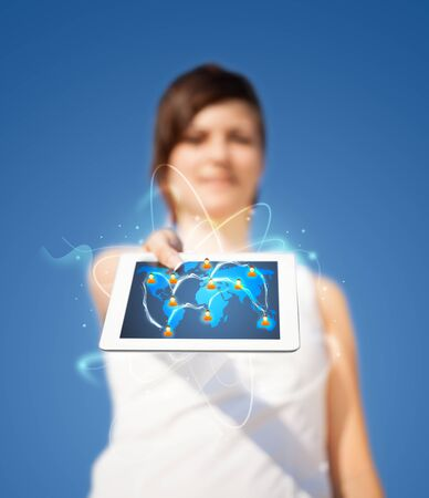 friend chart: Young business woman looking at modern tablet with abstract lights and social icons