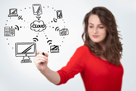 Young woman drawing a cloud computing on white whiteboard photo