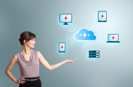 Beautiful young woman presenting cloud computing network Stock Photo - 16523905