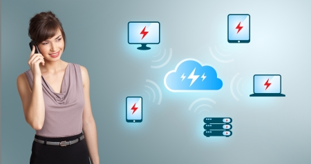 Beautiful young woman making phone call, with cloud computing network photo