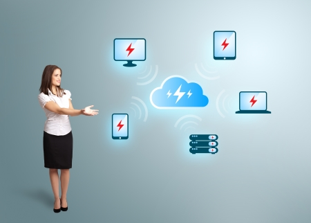 Beautiful young woman presenting cloud computing network Stock Photo - 16523885