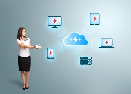 Beautiful young woman presenting cloud computing network Stock Photo - 16523885