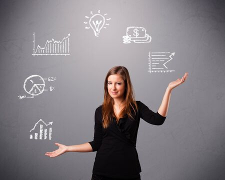beautiful young woman standin and juggling with statistics and graphs Stock Photo - 16638936