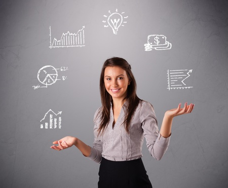 beautiful young woman standin and juggling with statistics and graphs Stock Photo - 16638920