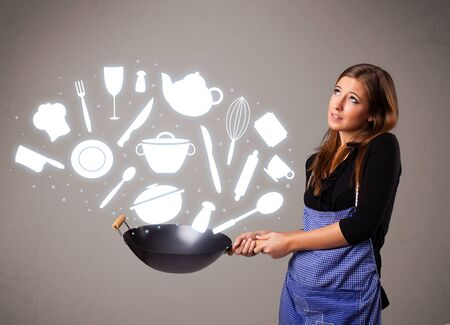 Pretty young lady with kitchen accessories icons Stock Photo - 16973037