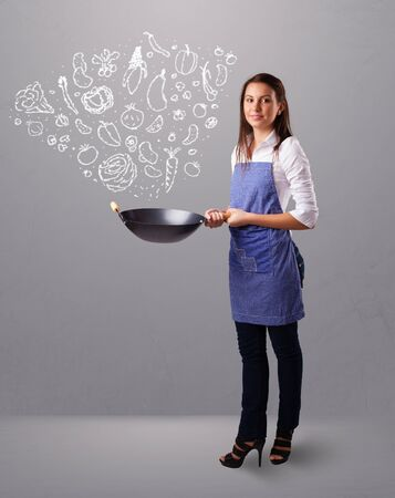 Pretty lady cooking vegetables Stock Photo - 16973206