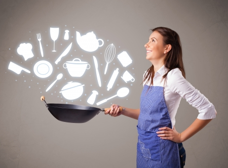 Pretty young lady with kitchen accessories icons photo