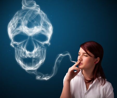 cancer drugs: Pretty young woman smoking dangerous cigarette with toxic skull smoke