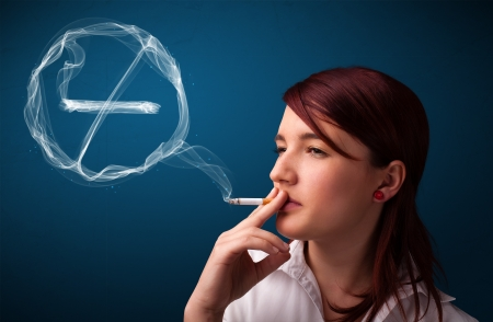 Pretty young lady smoking unheathy cigarette with no smoking sign Stock Photo - 16740613