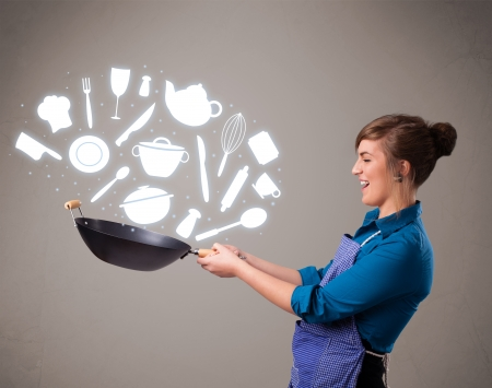 Pretty young lady with kitchen accessories icons Stock Photo - 16973155
