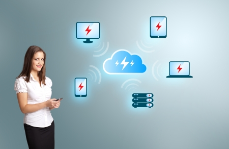 Beautiful young woman holding a phone with cloud computing network Stock Photo - 16750549