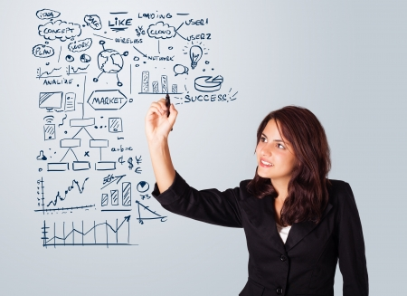 Young woman drawing business scheme and icons on whiteboard photo