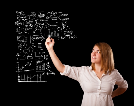 scetch: Young woman drawing business scheme and icons on whiteboard Stock Photo