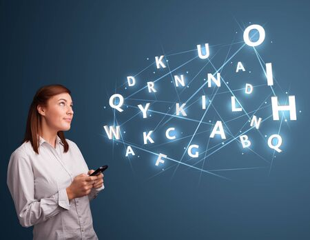 Beautiful young woman typing on smartphone with high tech 3d letters comming out Stock Photo - 17340169