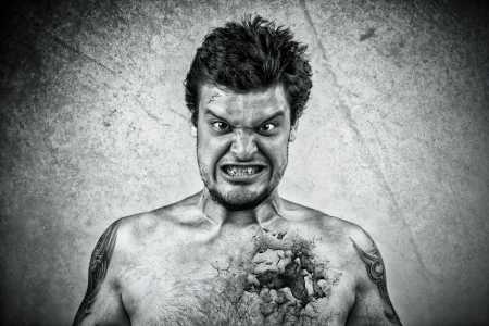 Sinister face with cracked skin Stock Photo - 17456179