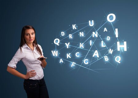 Beautiful young woman typing on smartphone with high tech 3d letters comming out Stock Photo - 17455555