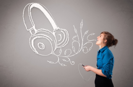 young woman singing and listening to music with abstract headphone getting out of her mouth Stock Photo - 17563477