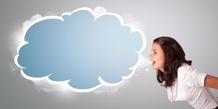 gesticulation: beautiful young woman gesturing with abstract cloud copy space