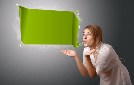 Young woman with modern speech bubble and copy space Stock Photo - 17563487